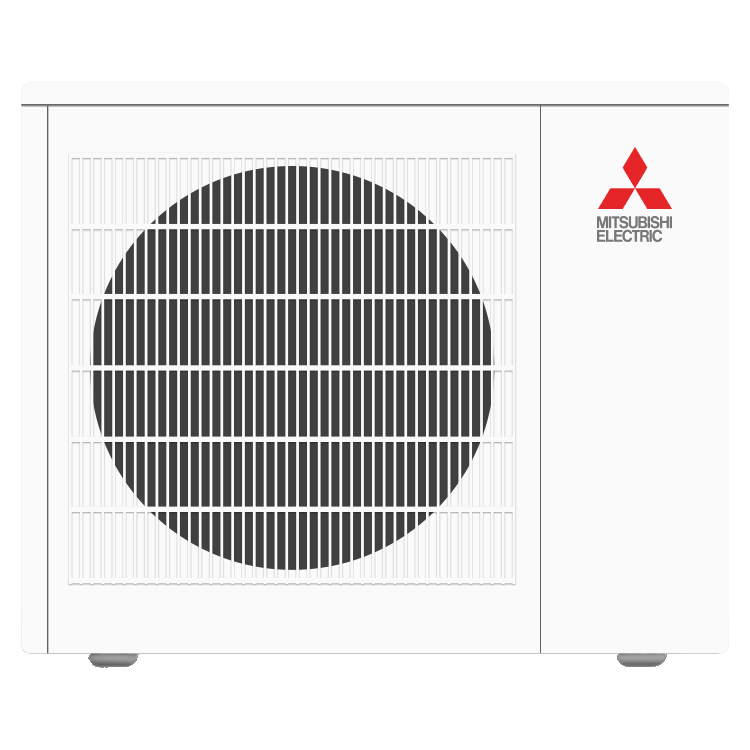 Mitsubishi single-zone cooling and heating outdoor unit.